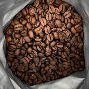 Fresh Roasted coffee beans inside a bag